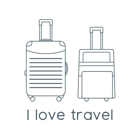 Vector illustration Suitcases isolated on white background. I love travel. Summer time, vacation, holiday, leisure. Concept for travel agency, booking service. Design for web page, print