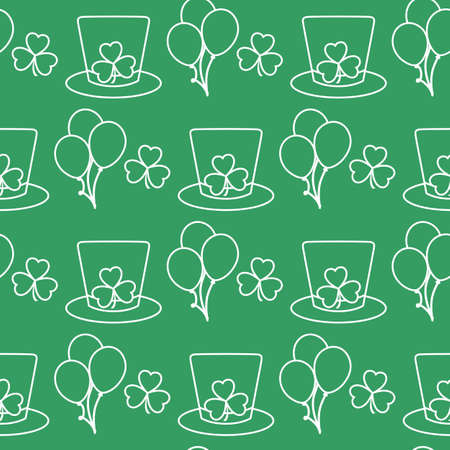 Vector seamless pattern Happy St. Patrick's Day illustration Ireland Shamrock Hat Balloon Irish Holiday Party Festive background Design for greeting card, fabric, print, wrapping paper 矢量图像