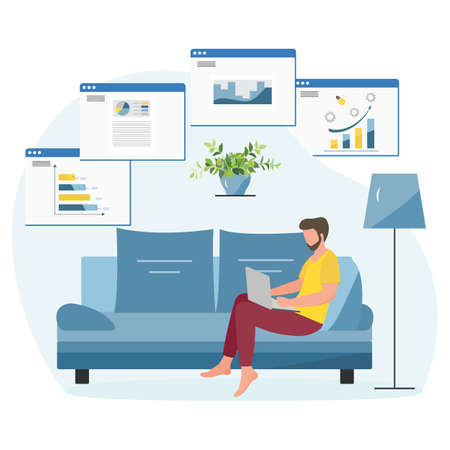 Vector illustration Remote work People work at laptop. Office at home Remote access Freelance Working remotely Studying Online concept Design for web print