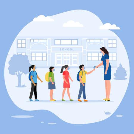 Vector illustration Back to school , Teacher measures temperature of school children before entering school.