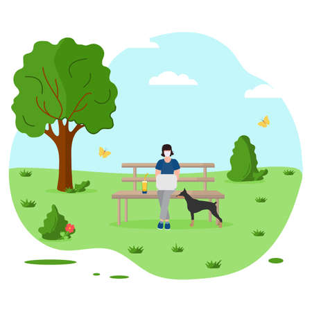 Vector illustration People sit in nature on bench, work at laptop. Summer vacations outdoor. Remote work Remote access Freelance Working remotely Studying online Design for print.