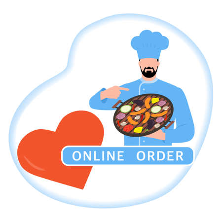 Vector illustration Online order. Chef offers to grill food. Ordering bbq food delivery online. Advertising of restaurant menu. Delivery at office or home. Tasty meal. Design for print