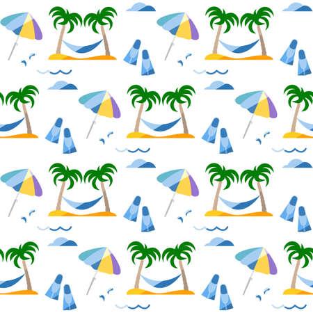 Seamless pattern. Travel vector illustration. Vacation at sea. Summer rest. Holiday. Adventure. Cruise. Palm tree, hammock, beach umbrella, flippers. Design for print 矢量图像
