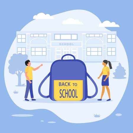 Vector illustration Back to school. Children Schoolbag Elementary school pupils. Schoolboy, schoolgirl excited to start school. First day at school. Education concept. Learning. Design for web, print
