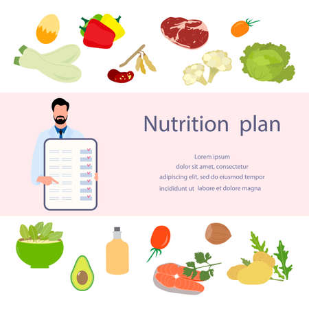 Vector illustration Nutritional consultant tells nutrition plan. Proper nutrition Organic Meal planning. Diet food people. Healthy lifestyle concept. Eating habits. Weight loss. Design web print