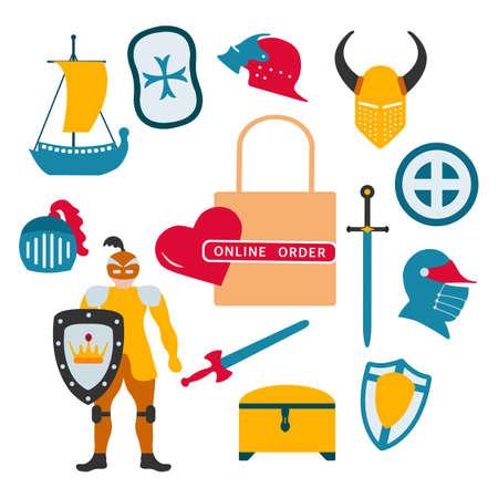 Vector illustration Online order Kid toys Knight, sword, shield, helmet, treasure chest, ship. Happy childhood background. Activity. Gaming items Primary school Elementary grade Kindergarten Game 矢量图像