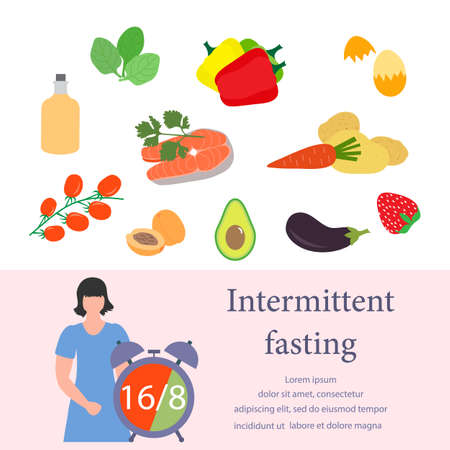 Vector illustration Nutrition Consultant explains Intermittent Fasting method 16/8, time-restricted eating to human Healthy lifestyle proper nutrition Diet food Weight loss Design for web print Vektoros illusztráció