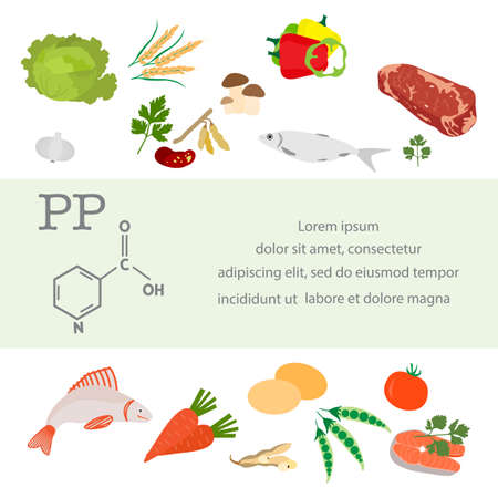 Vector illustration Vitamin PP sources. Healthy food enriched with vitamins essential for protein metabolism Proper natural nutrition Dietetic organic products Meat Fish Vegetable Replenish deficiency 矢量图像