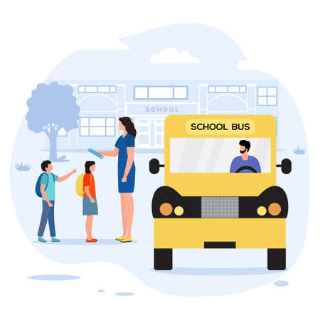 Vector illustration Back to school Children with schoolbags got off the school bus and get acquainted with teacher. Elementary school pupil. First day at school. Transportation Design for web, print