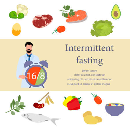 Vector illustration Nutrition Consultant explains Intermittent Fasting method 16/8, time-restricted eating to human Healthy lifestyle proper nutrition Diet food Weight loss Design for web print