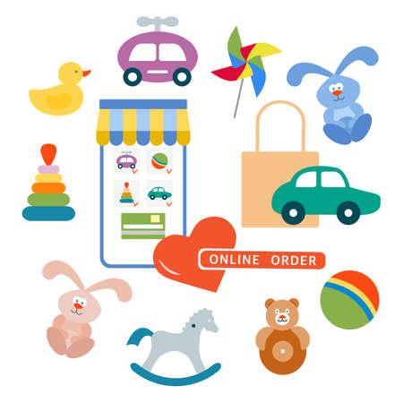 Vector illustration Online order Kid toys Happy childhood Gaming items Pinwheel, car, pyramid, ball, rocking horse, tumbler, rabbit, duck Primary school Elementary grade Kindergarten Game Play