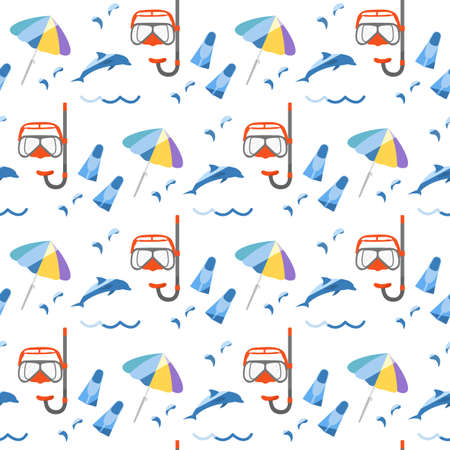 Vector seamless pattern Illustration Vacation at the sea. Diving mask, snorkel, flippers, dolphin, beach umbrella. Travel. Summer rest. Recreation. Design for print