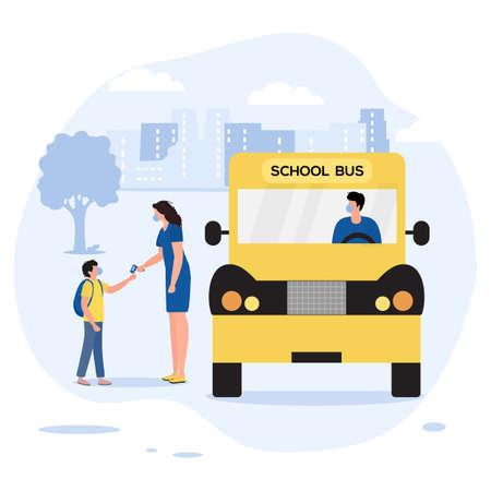 Vector illustration Back to school at Coronavirus Pandemic Pupil with schoolbag boarding into School bus People wear masks Temperature measurement before entering transport Schoolboy Transportation