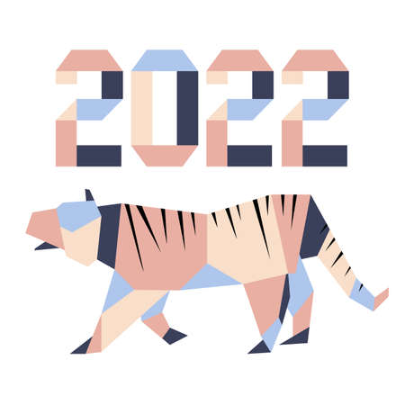 Happy new year Vector illustration with origami 2022 year numbers Tiger Annual animal zodiac sign, symbol of 2022 on the Chinese calendar. Year of the tiger. Chinese horoscope Festive Design for print 矢量图像