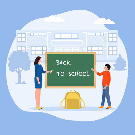 Vector illustration Schoolboy and teacher near chalkboard. Elementary school pupil Schoolboy excited to start school First day at school Back to school Education concept Learning Design for web, print
