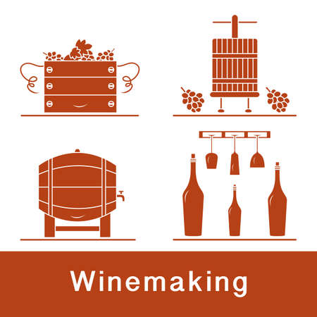 Vector illustration Winemaking Process. Crates full of grapes Wineglasses Press for wringing Bottles Wine storage Harvest Festival. Liquor store Bar Alcohol drinks market Tasting Degustation Vineyard