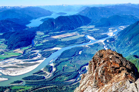 valley view: View from Mountain Top. Mount Cheam, British Columbia, Canada. Stock Photo