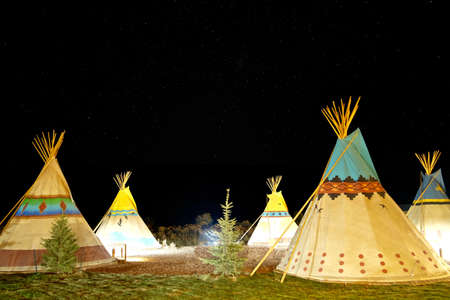 'southwest usa': Camping at American First Nation Traditional Teepee at Night. Capitol Reef National Park, Utah, USA.