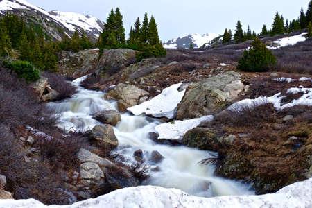 alpine tundra: Rupid Spring Creek Running through Mountains. Alpine tundra below Independence Pass near Aspen, Colorado State, USA.