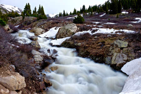 Swift Spring Creek Running through Alpine Meadows. Alpine tundra below Independence Pass near Aspen, Colorado State, USA. Stock Photo