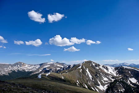 Rocky Mountains, blue sky and clouds. Cottonwood pass near Buena Vista and Denver, Coloralo, USA. Stock Photo