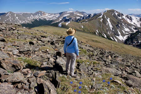 rocky mountains colorado: Woman enjoying mountain view at Cottonwood Pass near Buena Vista and Denver  in Rocky Mountains, Colorado, USA.