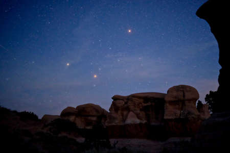 the devils garden: NIght sky with Mars and Jupiter in Devils Garden, Grand Staircase Escalante National Monument, Moab, Utah, USA.