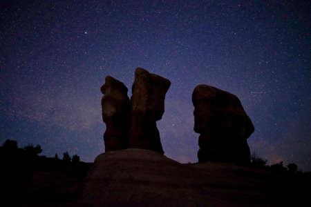 escalante: Milky Way raising over rocks in Devils Garden, Grand Staircase Escalante National Monument, Moab, Utah, USA. Stock Photo