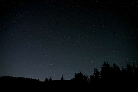 showers: Perseid meteor showers. Manning Park, Hope, British Columbia, Canada Stock Photo