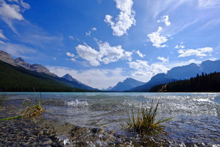 waterfowl: Tide at Waterfowl Lake in Banff National Park. Rocky Mountains. Alberta. Canada. Stock Photo