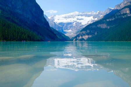 banff national park: Beautiful blue lake and glacier. Lake Louise. Banff National Park. Rocky Mountains. Alberta. Canada.