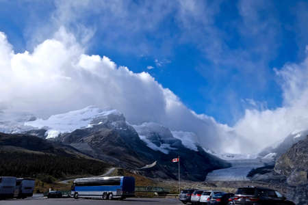 canadian rockies: Mountains and glacier. Columbia Icefield. Rocky Mountains of North America. Canadian Rockies. Banff and Jasper National Park. Stock Photo