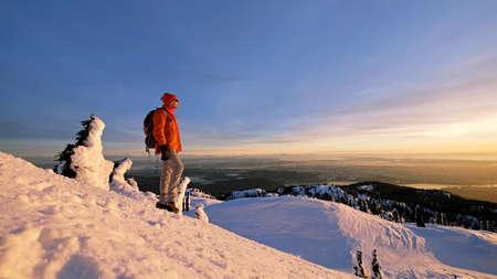 british man: Man hiking in Mount Seymour Provincial Park. Vancouver. British Columbia. Canada.
