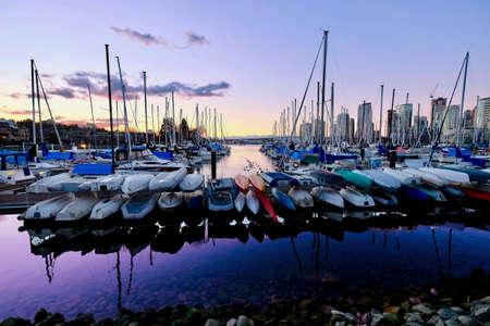 Sail boats at the Heather Civic Marina.  Kitsilano. Vancouver. British Columbia. Canada. Фото со стока