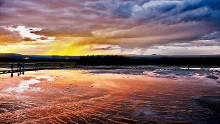 Grand Prismatic Spring at sunset. Midway Geyser Basin. Jackson Hole. Wyoming. Unites States.