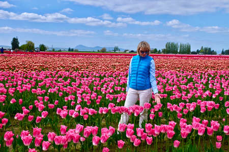 Woman at Mount Vernon Tulip Festival. Seattle. Washington. United States.