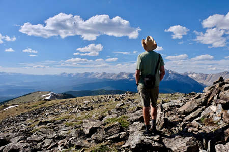 Man hiking in alpine tundra at Independence Pass. Denver. Aspen. Colorado. United States. Stock Photo