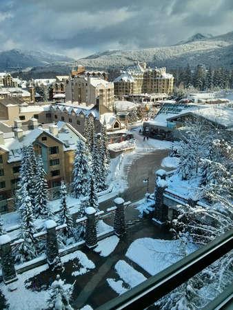 ski resort: Ski resort.  Olympic Village. Whistler. British Columbia. Canada.