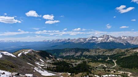 Switchbacks on windy mountain road. Cottonwood Pass near Denver and Buena Vista. Colorado. United States. Stock Photo