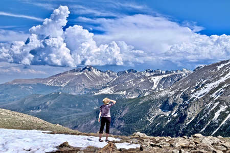 Woman hiking in Rocky Mountains National Park. Denver. Colorado. United States. Stock Photo