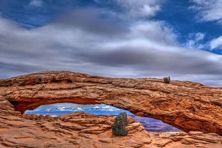 Dramatic view of Mesa Arch in Canyonlands National Park. Moab. Cedar City. Utah. United States.