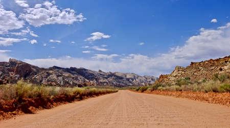 Washboard dirt road in desert.  Escalante National Monument. Kanab. Cedar City. Utah. United States.