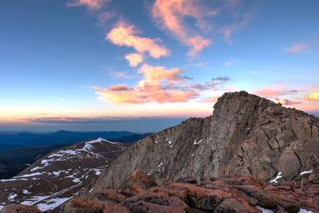 Sunrise over rocky mountains.  Mount Evans. Denver. Colorado. United States.