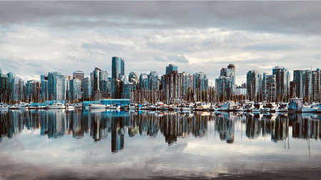 Vancouver skyline reflection in water. Coal Harbour. British Columbia. Canada Stock Photo