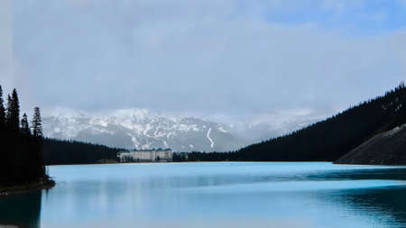 Chateau Lake Louise in Canadian Rocky mountains in sping. Banff National Park. Alberta. Canada.