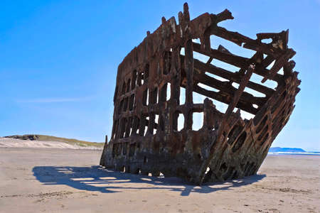 Ship Wreck on Oregon Coast near Cannon Beach and Cape Disappointment. Wreck of the Peter Iredale. Fort Stevens State Park.  Or. United States.