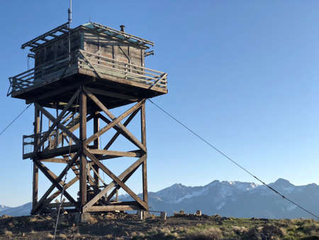 Fire watch tower on Lookout Mountain near Twisp and Winthrop. Pacific Northwest. Washington. United States of America.