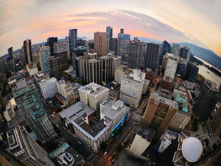 Planet Earth. Vancouver Skyline from the lookout tower at Coal Harbor. Downtown Vancouver. West End. British Columbia. Canada.