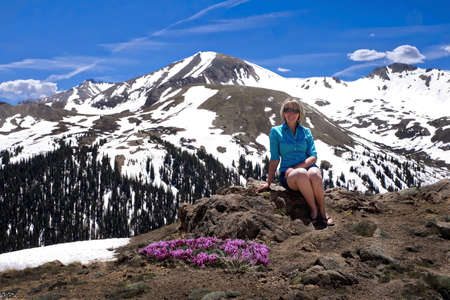 Vacation travel in Colorado. Woman tourist on mountain top with wildflowers and snow capped mountain peaks. Independence pass near Aspen. Colorado. United States of America. Stock Photo