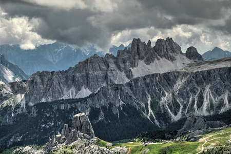 Cinque Torri in Italian Dolomites. Beautiful view of mountains  under storymy sky. Cinque Torri photographed from Mount Lagazuoi. Canazei.  South Tyrol. Italy.